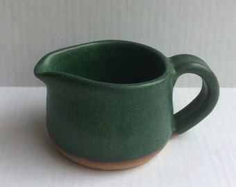 Green handmade ceramic pitcher- pottery-stoneware-serving- creamer - pitcher-in stock