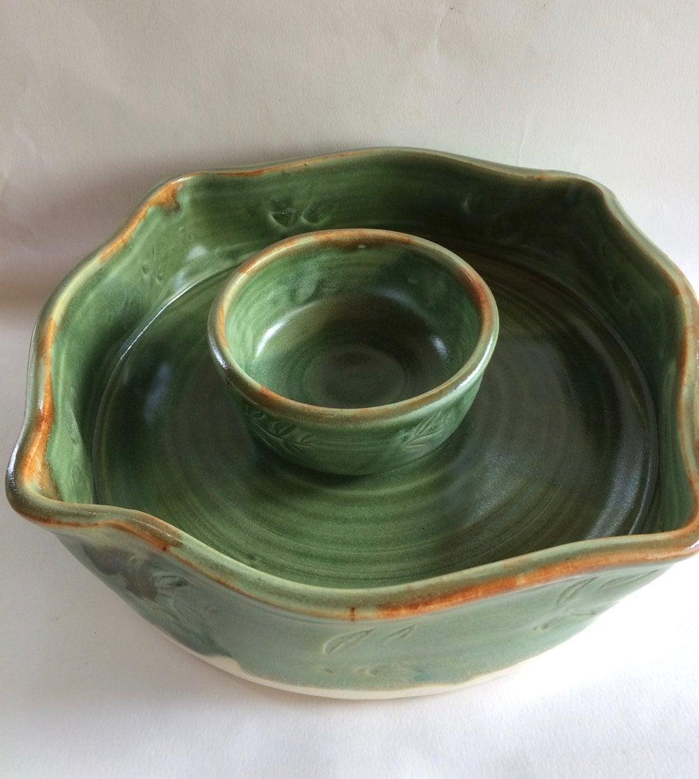 Handmade Chip And Dip Bowl Pottery Ceramic Stoneware Mint