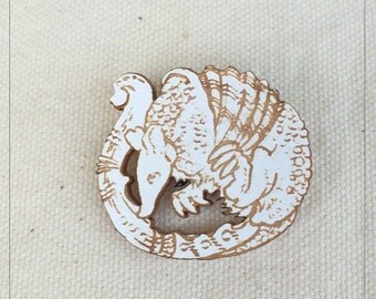 Armadillo pin in white painted maple wood