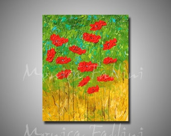 Original oil painting red Poppies thick impasto textured bright colors modern art by artist Fallini