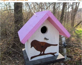 SUMMER SALE Birdhouse Functional Primitive White Pink Rusty Bird Cutout