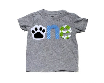 o n e //First Birthday//Dog Theme// Puppy Dog//Fabric Iron On Applique Letters//Other Numbers Available//NEW DESIGN