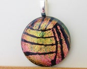 Water Polo Ball - Volleyball - Dichroic Fused Glass Necklace Pendant - Pink and Gold