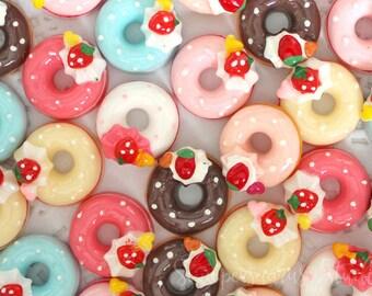 MINIATURE Assorted Multicolor Donut Cabochons
