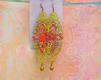 Long Bohemian earrings Hand painted green yellow orange boho earrings Colorful jewelry