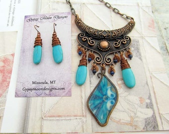 Unique Turquoise necklace copper Boho bohemian Gypsy jewelry