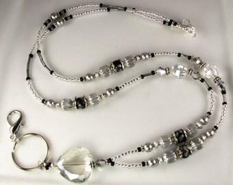 Heart Lanyard, Beaded Lanyard, Crystal ID Badge Holder, breakaway lanyard, gifts for her