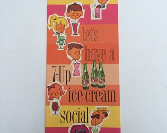 Let's Have A 7-Up Ice Cream Social Vibtage Pamphlet Paper Ephemera Party Planning Seven-Up Co.