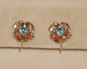 Vintage Church & Co 14K Gold Blue Zircon Flower Shaped Earrings