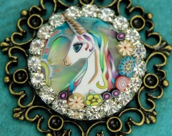 "Polymer Clay Unicorn Necklace on 20"" Brass Chain, 'Mystical Meadow' series"