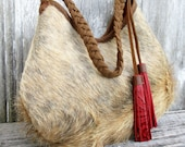 RESERVED for Jacq Light Brindle Hair On Cowhide Leather Hobo Bag with Red Tassels by Stacy Leigh