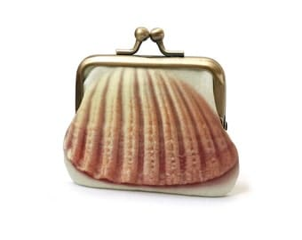 Shell coin purse, silk pouch, seashell, gift for her