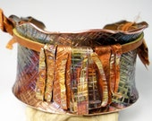 RESERVED For Shirley, Texture Hammered Copper Cuff, Anticlastic,Copper and Leather, Colorful Heat Patina,- Intersecting  Lines With A Fringe