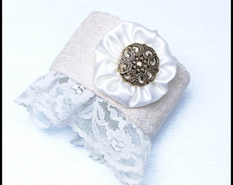 Romantic French Style Handmade Cream and White Color Lace Cuff Bracelet fits 7 inch wrist (can be made smaller)