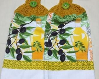 Olive Print Towels Set of 2