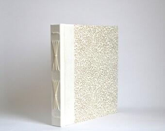 Golden Floral Starburst Journal in Ivory, Handbound Album, White & Gold Photo Album, Hardcover Journal