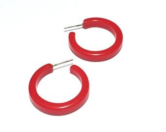 Bright Red Hoop Earrings | Cherry Red Pin Up Hoops | vintage  lucite hoop earrings