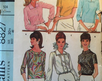 "Vintage Misse's Blouse Pattern 1960s McCall's 8827 - Size 20.5, bust 41""- NC - Vintage McCall's Pattern / 60s McCall's / 60s Pattern"