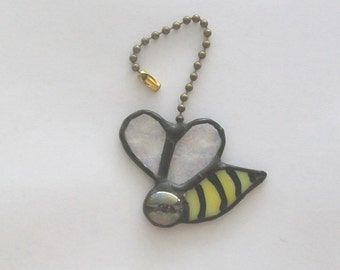 Bee honey bee fan pull light pull stained glass happy bee