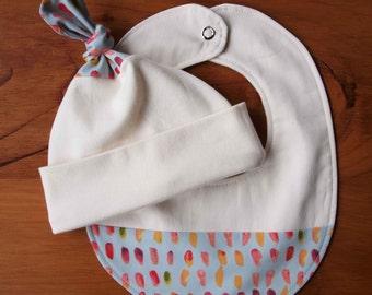 Pink and Blue Baby Hat, Teething Bib Set; Pretty Newborn Baby Cap, Drool Bib, Baby Girls; Handmade Organic Cotton; Baby Gift Under 30; BRUSH