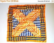 SALE SECTION / 40% OFF Vintage 60s 70s Vera Optical Illusion Striped Silk Scarf