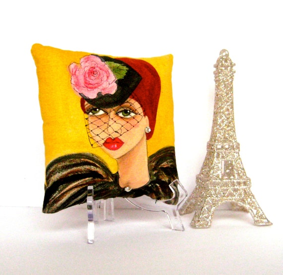 new.. MANON PARIS PILLOW, hand painted pillow, veil hat, French girl, gift for her, stocking stuffer, mustard, Paris, Paris quote