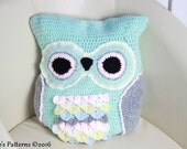 CROCHET PATTERN  For Owl Cushion / Pillow Owl Pyjama Case PDF 235 Digital Download