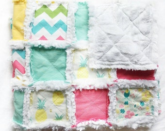 Pineapple Baby Gift - Flamingo Baby Gift - Baby Girl Quilt - Tropical Quilt - Pineapple Nursery - Modern Baby Quilt - Pastel Rainbow