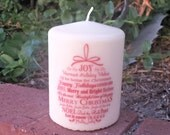 Christmas Words Ornament 3x4 pillar candle