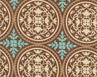 Joel Dewberry Fabric, Aviary 2, Scrollwork in Caramel, cotton quilting fabric - HALF YARD
