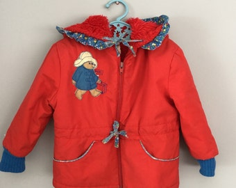 Vintage 80s Girls Paddington Bear Ruffled Coat Jacket Size 3t 4t
