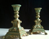 2 Chalk Painted Aqua Gold Candlesticks Turquoise Green, Mod Dep Italy Candle Holders, Cast Metal