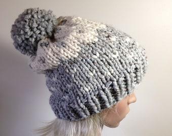 Women's Slouchy Knit Hat Pom Pom Hat Fair Isle Ski Hat Chunky Fisherman and Gray