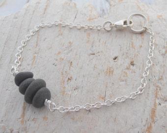 Tiny sea pebble rock stack bracelet