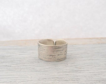 Sterling silver birch bark ring- wide band