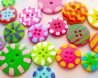 Hand-Painted Buttons Set of Twenty