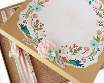 Keepsake Box - Gift Box - For Baby Memory Book,  Bohemian Wreath