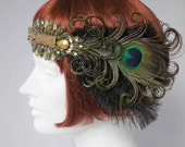Peacock Feather Flapper Headband, Roaring 20s, Saloon Girl, Great Gatsby, HOLIDAY SPECIAL PRICE