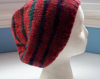 Unisex beanie hat multi yarn handspun hand knitted Classic design Contemporary colours red black multi stripes