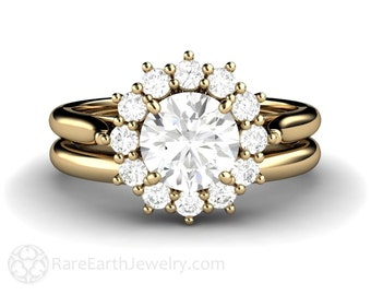 1ct Moissanite Engagement Ring Conflict Free Wedding Set 14K White Yellow or Rose Gold Forever Brilliant