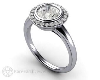 Art Deco Engagement Ring 1ct Diamond Halo Platinum Unique Vintage Engagement Ring Handmade Wedding Ring