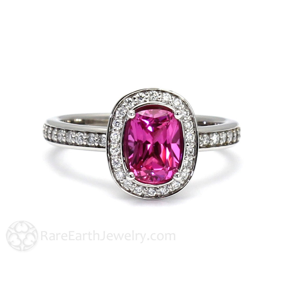Hot Pink Sapphire Ring Cushion Pink Sapphire Engagement Ring