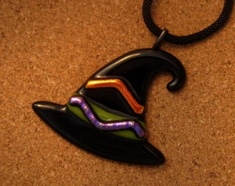 Witch Hat Pendant - Halloween Pendant - Dichroic Witch Hat - Sorcerer's Hat - Halloween Jewelry - Fused Glass Witch Pendant - Wizard Hat