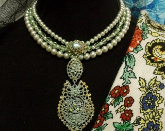 Portugal Queen verdigris filigree style necklace