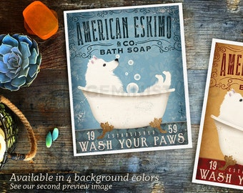 American Eskimo Eskie dog bath soap Company vintage style artwork by Stephen Fowler Giclee Signed Print