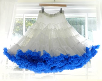 Outstanding Vintage Crinoline! Super Full, Soft White Tulle with Blue Bottom Ruffle, FLUFFY! Upcycle into several girl's skirts etc.