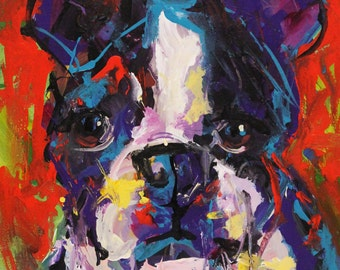 Pug - Original Abstract Acrylic Painting 11x14