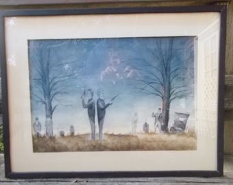 """Inmate Art 70s Watercolor Painting Folsom Prison """"The Duel"""" by """"Spence"""" must see"""