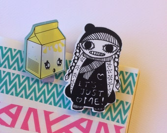 KAWAII PAPER CLIPS set of 2 laser cut silkscreened print (banana milk-its just me)