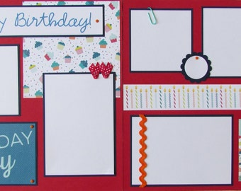It's My Birthday 12x12 premade scrapbook pages -- BoY